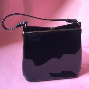Vintage 40's black patent leather mini bag